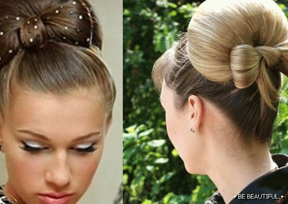 Hairstyle with a bow of hair
