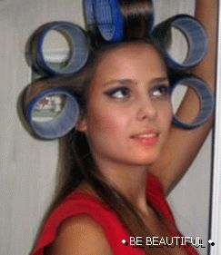 hair curlers for long hair photo