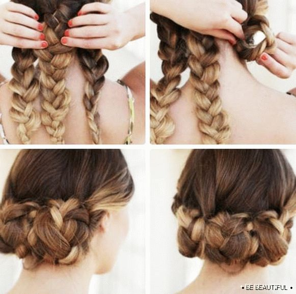 Hairdress from three braids