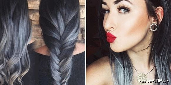 Ombre on black dyed hair