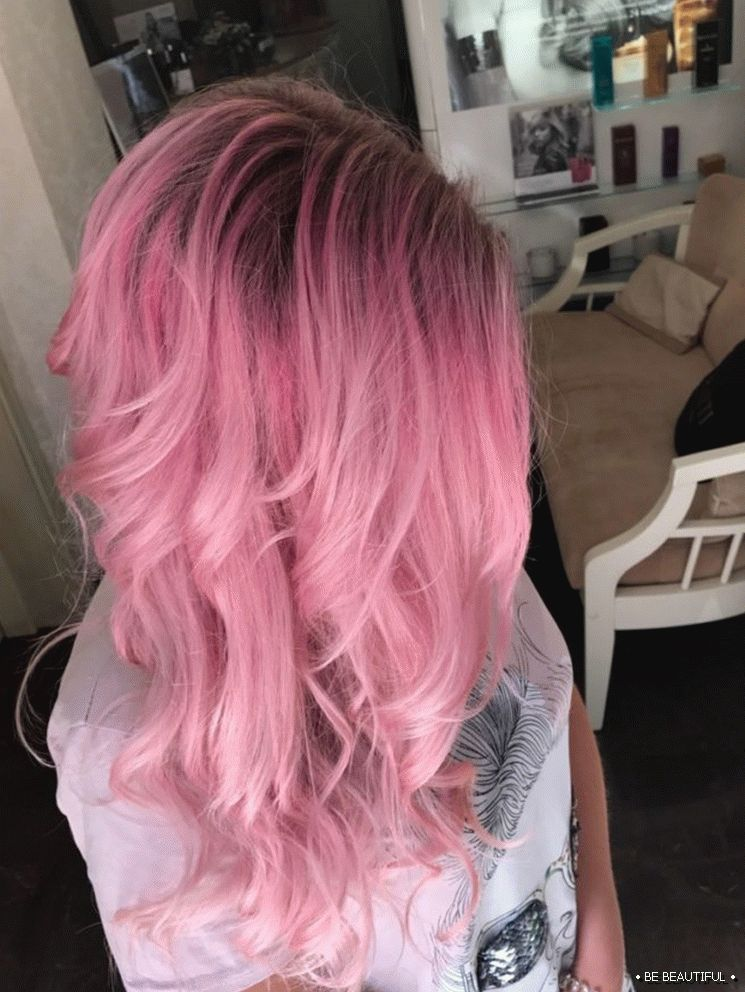 Shatush long hair pink color