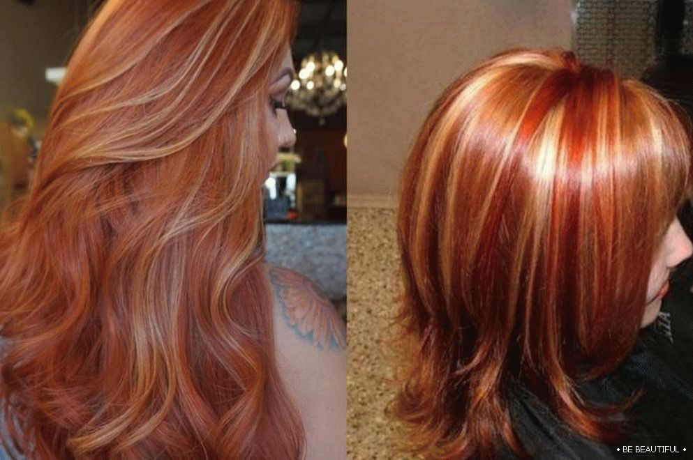 Shatush long hair copper color