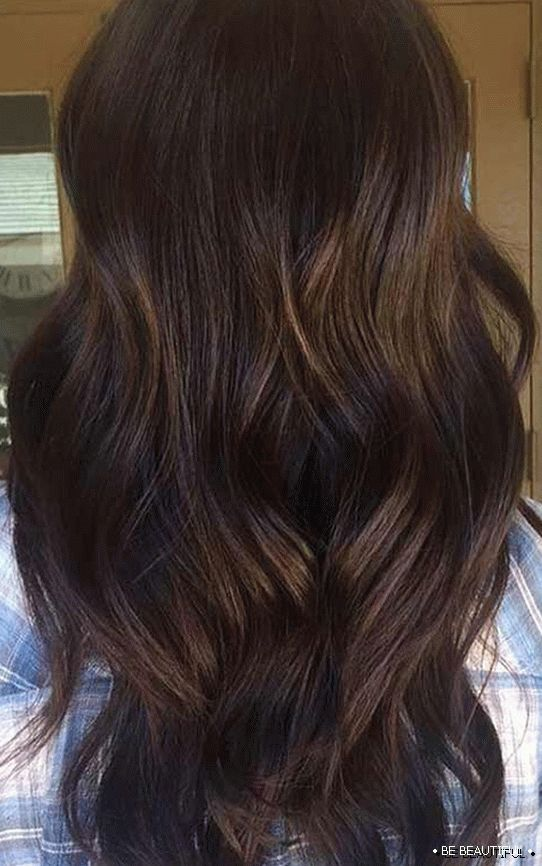 Shatush long hair chocolate color