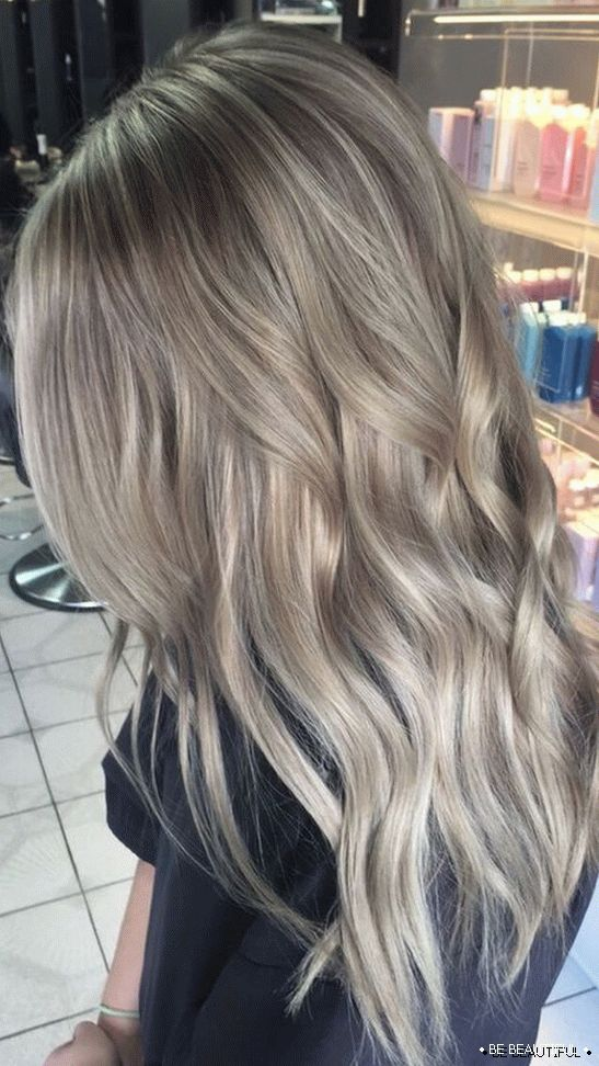 Shatush long hair ashen color