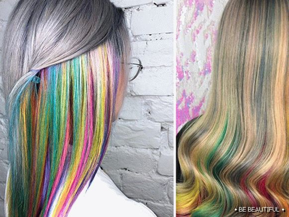 Iridescent hair coloring
